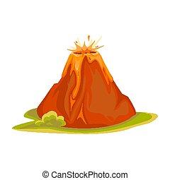 hegyek, csípős, vulkán, vulcano, vektor, ábra, white., lava...