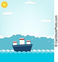 hegyek, csónakázik, háttér