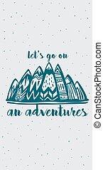 hegyek, felirat, kalandok, lets, belélegzési, jár