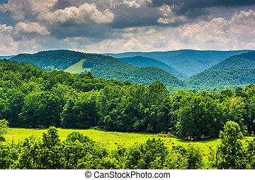 hegyek, felvidékek, virginia., nyugat, potomac, kilátás