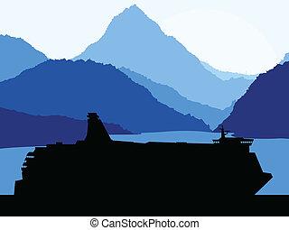 hegyek, fogalom, utazás, vektor, háttér, komphajó