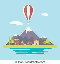 hegyek, hirdetés, nyár épület, modern, kereskedelmi, lakás, vektor, tervezés, ábra, háttér, falu, ikonok, előléptetés, ég, sablon, táj, ikon