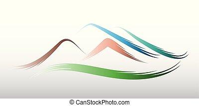 hegyek, jel, vektor, tervezés