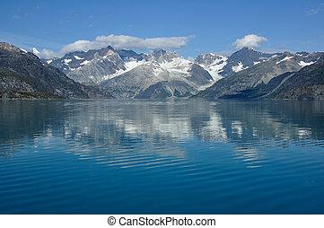 hegyek, közül, gleccser öböl nemzeti dísztér, alaszka