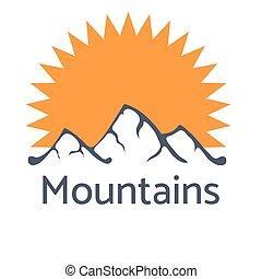 hegyek, küllők, ábra, vektor, jel, sun's, ikon