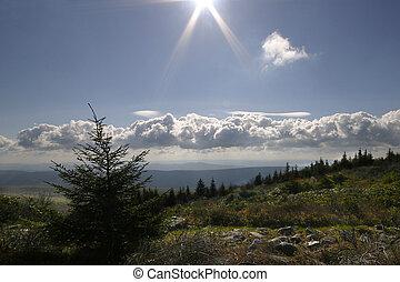 hegyek, küllők, nyugat, felett, virginia, isten