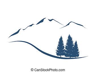 hegyek, kiállítás, ábra, stilizált, erdei fenyők, táj,...