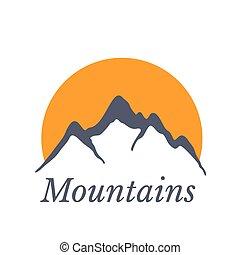 hegyek, nap, ábra, vektor, jel