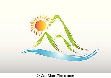 hegyek, nap, zöld, vektor, tervezés, jel, ikon