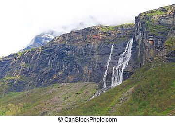 hegyek, noha, vízesés
