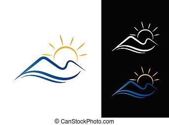 hegyek, parkosít., vektor, nap, logo., emelés