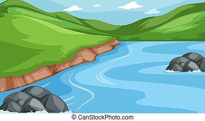 hegyek, színhely, háttér, folyó