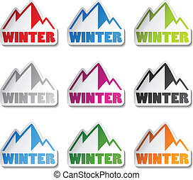hegyek, tél, jelkép, -, vektor, böllér