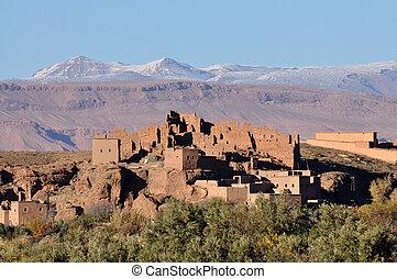 hegyek, tönkretesz, marokkó, háttér, casbah, atlasz