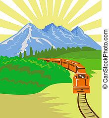 hegyek, utazó, kiképez, dízel