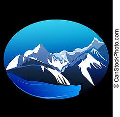 hegyek, vektor, csúcs, részvény