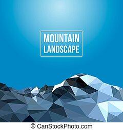 hegyek, vektor, háttér