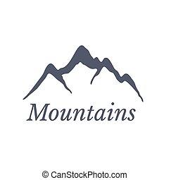 hegyek, vektor, jel, ábra