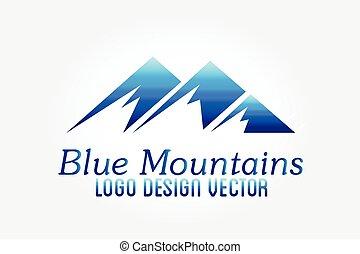 hegyek, vektor, jel, ikon