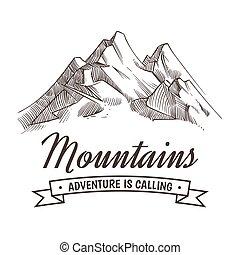 hegyek, vektor, sketched, kaland, rajz, szüret, kéz, magas csúcs, erdő, poszter, hegy