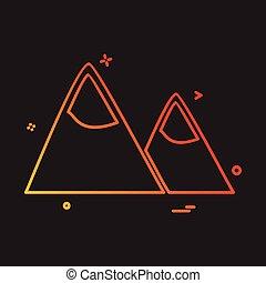 hegyek, vektor, tervezés, ikon