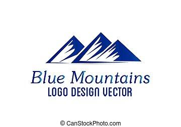 hegyek, vektor, tervezés, jel