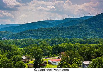 hegyek, windmills, virginia., nyugat, keyser, kilátás