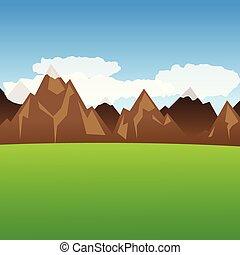 hegyek, zöld kaszáló, kilátás