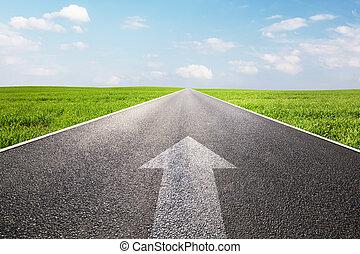 hegyezés, út, egyenes, hosszú, aláír, üres, nyíl, előmozdít...