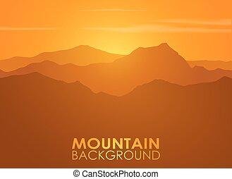 hegylánc, felett, sunset., vektor, háttér.