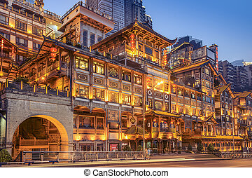 hegyoldal, kína, hongyadong, chongqing, épület.