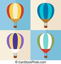 heiß, ballons, luft