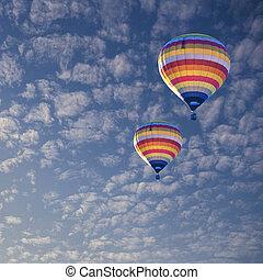 heiß, balloon, wolke, luft