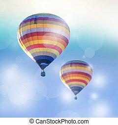 heiß, bokeh, balloon, zwei, hintergrund., luft