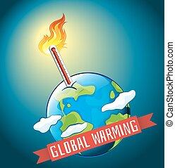 heiß, global, temperatur, wärmen