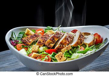 heiß, huhn, und, frische gemüse, in, gesunde, salat