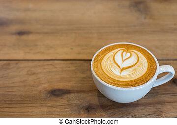 heiß, kunst, latte, bohnenkaffee, auf, der, tisch.
