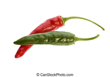 heiß, paprika- pfeffer, freigestellt, weiß