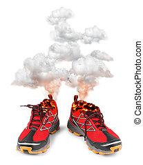 heiß, sport, rennender , rote schuhe