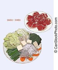heiß, sukiyaki, shabu., abbildung, design.