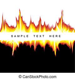 heiß, vektor, hintergrund, feuerflammen