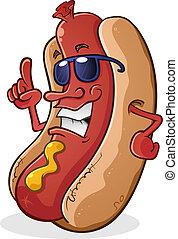 heißer hund, karikatur, tragende sunglasses