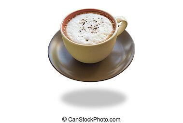heißer kaffee, freigestellt, weiß