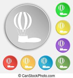 heiãÿluftballon, ikone, zeichen., symbol, auf, acht, wohnung, buttons., vektor