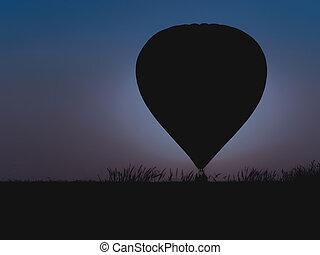 heiãÿluftballon, mit, schöne , dämmerung, hintergrund