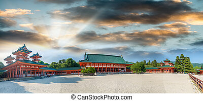 Heian Shrine, famous temple in Kyoto. Panoramic view at ...