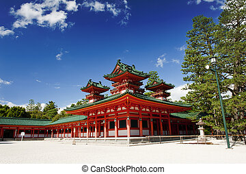 Heian shrine - Beautiful vivid photo of a Heian Shrine in...