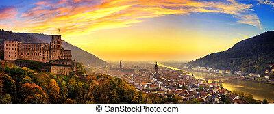 heidelberg, hemel, duitsland, kleurrijke, schemering