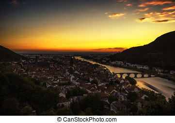 heidelberg neckar river - View of Heidelberg during sunset....