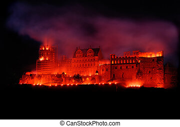Heidelberg Red Castle - Heidelberg red castle lit like it...